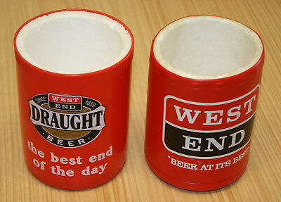 West End Draught Beer Foam Insert Stubby Holders x2