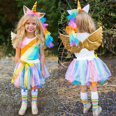 UK Stock Unicorn Kids Baby Girl Tops +Tutu Skirt Party Lace Dress Clothes Outfit