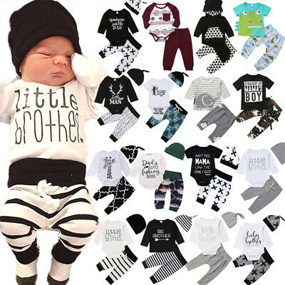 UK Newborn Kids Baby Boy Striped Cotton Hooded Tops Romper Pants Outfits Clothes