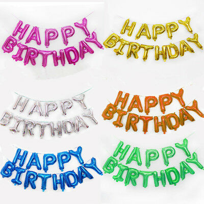 Happy Birthday Self Inflating Banner Balloon Party Bunting Decorations Letters