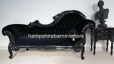 French Style Black Beauty Velvet  Medium Louis Chaise Longue  Salon Sofa Gloss