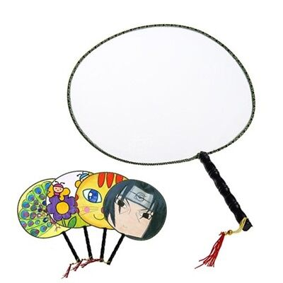 10 Plain Wooden Handle Chinese Silk Hand Fan with Tassel