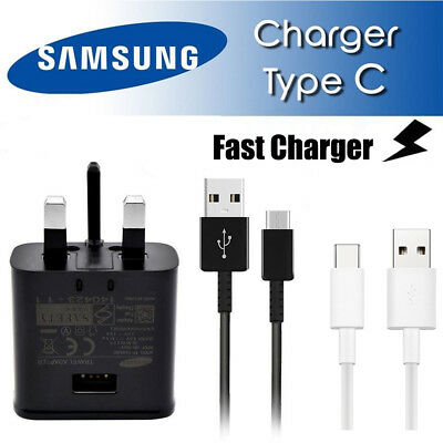 100% Genuine Fast Charger Plug & Cable For Samsung Galaxy S7 S6 Edge Note 4 5 Uk