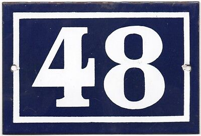 Old blue French house number 48 door gate plate plaque enamel metal sign steel