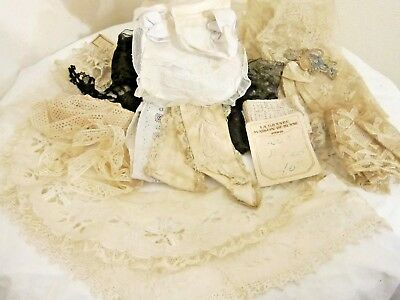 c.1890 Mixed Batch of French Lace/Collars/Appliques++++