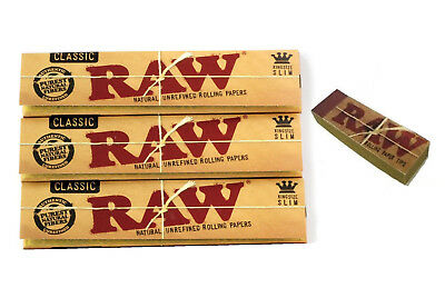3 Raw Kingsize Slim Rizla Rolling Papers + Book Roach Card Filter Tips Roaches
