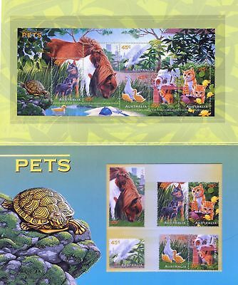 Mint 1996 Pets Stamp Pack - Inc Cats Dogs Horses Ducks Stamps + Mini Sheet Muh