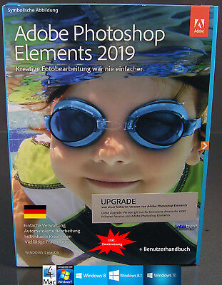 Adobe Photoshop Elements 2019 Upgrade Win/Mac + Benutzhandbuch Download NEU