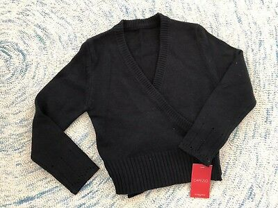 Capezio Dancewear Girls Black Wrap Sweater, Girls Large
