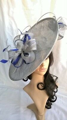 Silver grey metallic Hatinator with sapphire..Large saucer disc Wedding.races.