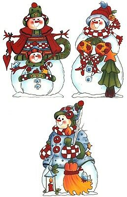 Folk Art Snowman Trio Select-A-Size Waterslide Ceramic Decals Xx