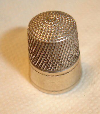 Simon Bros.S Shield Antique Sterling Thimble Size 10 Gold Overlay-Excellent!