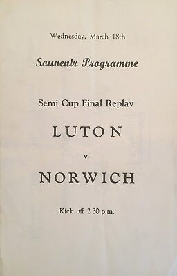 Luton Town v Norwich City  F A Cup Semi Final Replay 1959  Pirate Programme