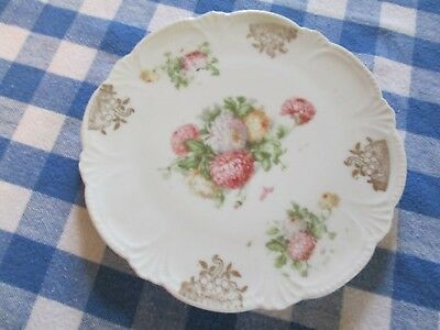 Pink Yellow White Floral Trivet Scalloped Edge Gold Porcelain China Cottage Chic
