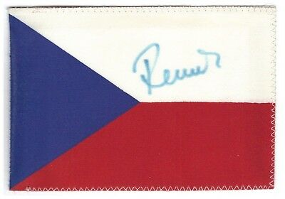 Czech flag handsigned by first international cosmonaut (Soyuz-28) Vladimir Remek