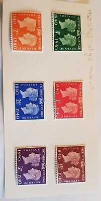 6 Victoria And George Stamps 1840 to 1940 ½d to 3D. ALL MOUNTED MINT