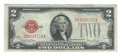 1928G $2 United States Red Seal Note Fr1508 D-A Block Very Fine