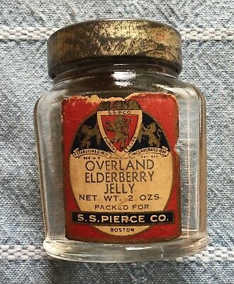 Vtg Advertising S. S. Pierce Co Boston - Overland Elderberry Jelly Jar -  2oz