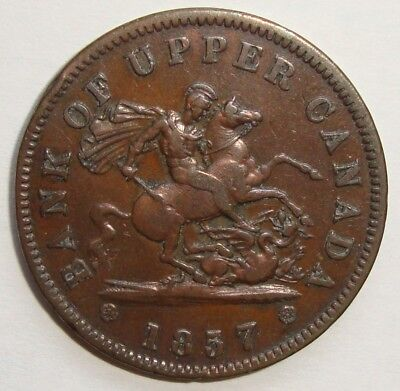 1857 Bank Of Upper Canada One Penny Dragon Slayer Token Coin