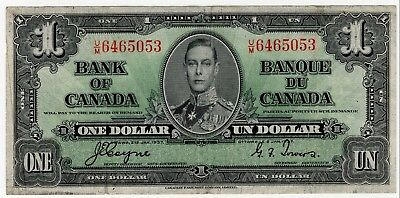 1937 Bank Of Canada One Dollar Bank Note Um 6465053 Nice Bill