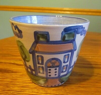 "M A Hadley Blue & Grey Hand Painted 5"" Bowl w House ""The End"" Inside Bottom"