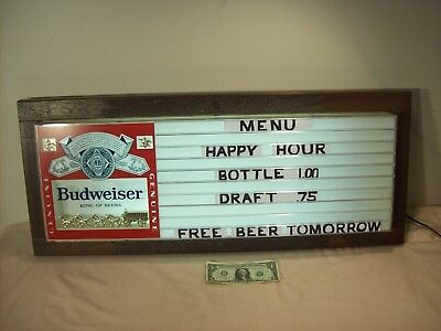 1980~BUDWEISER BEER LIGHTED ADVERTISING SIGN w/MENU PRICE BOARD & CLYDESDALES~