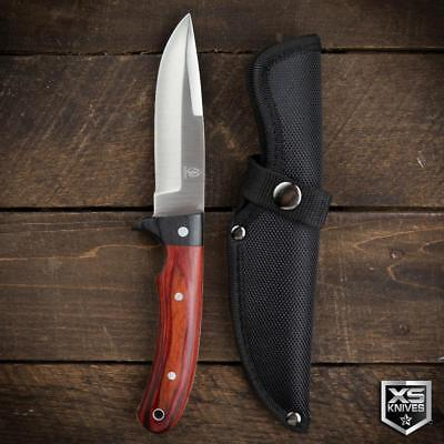 "Buckshot 9"" Survival BUSH CRAFT Hunting RED WOOD Fixed Blade FULL TANG Knife"
