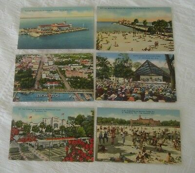 Lot of 6 Vintage St Petersburg Florida Linen Unposted Post Cards