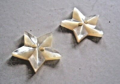 Set Of 2 Carved Raised Star Shaped MOP Buttons Mother Of Pearl Antique