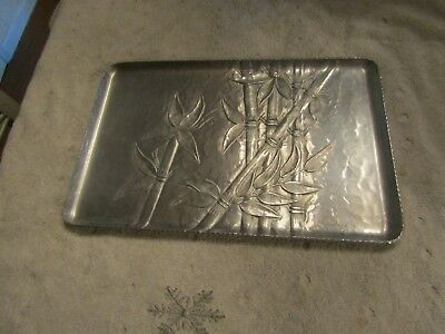 Vintage Mid Century Modern Everlast Hammered Forged Aluminum Serving Tray Bamboo