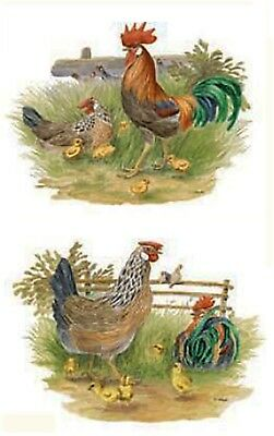 "4 Rooster Chicken Farm Animal 1-1/2"" Waterslide Ceramic Decals Xx"