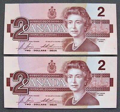(2) 1986 CANADIAN $2 Consecutive Serial Number Banknotes~Pick #94c;G066