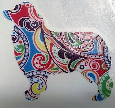 Aussie Rescue - Multi color paisley standing Aussie silhouette car decal