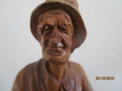 Vintage  Wood Carving Of Old Woman   Artist Signed ?