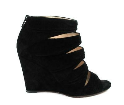 7b8e686eb75f Christian Louboutin Black Ruched Suede Developpa Wedge Sandals booties Sz.39