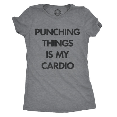 Womens Punching Things Is My Cardio Tshirt Funny Workout Fitness Boxing Tee For