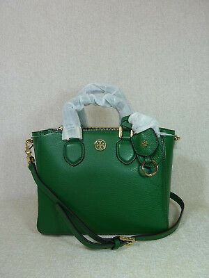 NWT Tory Burch Bottle Green Leather Robinson Mini Square Tote $450