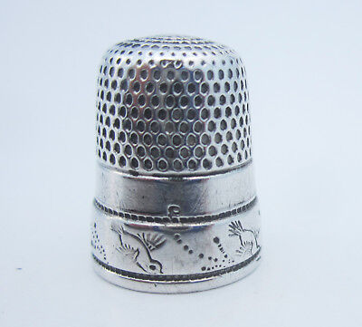 Antique M.S. Smith Sterling Silver Thimble Size 8 Stamped Diving Birds