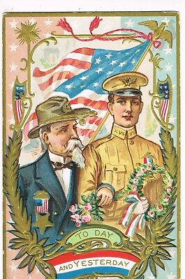 """ANTIQUE EMBOSSED PATRIOTIC Postcard       """"TODAY AND YESTERDAY"""""""
