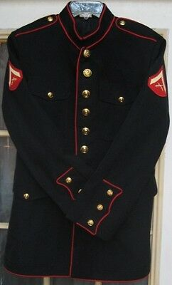Marine Corps Dress Blues L Cpl Uniform Coat Sz 46r Belt Buckle