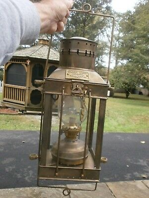 Vintage Cargo Light No. 3954 Brass Oil Lamp, Great Britain 1939