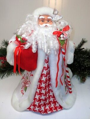 """Old World Santa Claus Tree Topper 17"""" Tall Red White"""