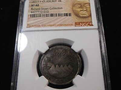 J21 Central American Republic 1831-T, F 2 Reales NGC XF-40