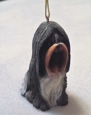 SHIH TZU Puppy DOG Resin Figurine Christmas Ornament ~  Detailed Realistic