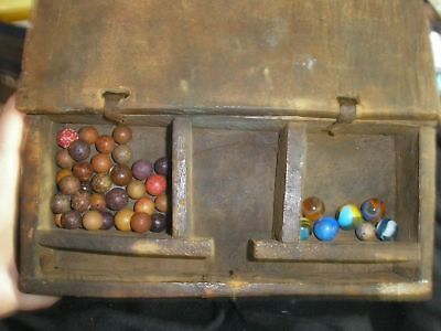 19th Century hand crafted wooden box 33 antique clay marbles & 6 glass marbles