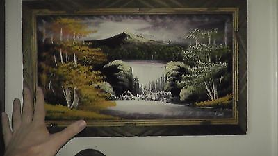 original painting japan japanese ? mountain waterfall signed rare vintage old