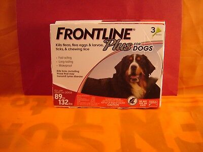 Frontline Plus Flea And Tick Control For Dogs 89-132 Lbs   3 Month Supply