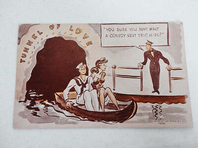 Vintage A Mutoscope Card MILITARY HUMOR Postcard PC - Tunnel Of Love