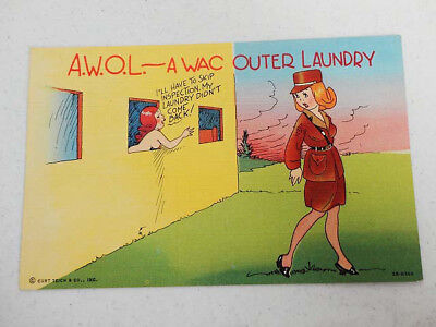 Vintage Curt Teich MILITARY HUMOR Postcard PC - A.W.O.L. - A WAC OUTER LAUNDRY
