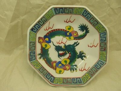 Vintage Chinese 5 Inch Octagon Plate with Dragon Motif and Qianlong Mark